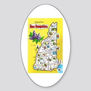 New Hampshire Map Greetings Sticker (Oval)