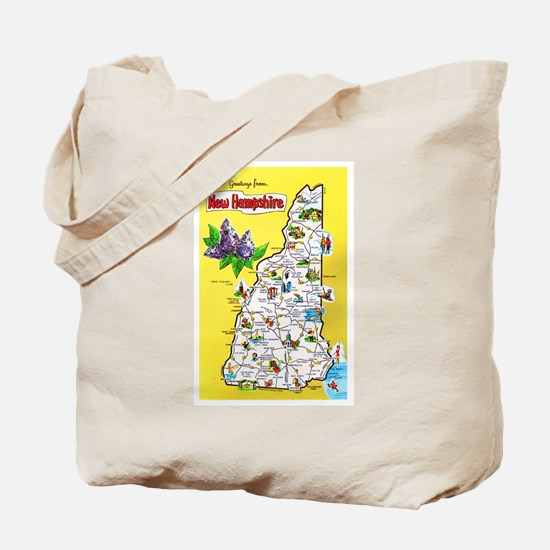 New Hampshire Map Greetings Tote Bag
