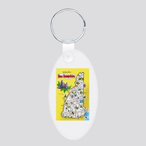 New Hampshire Map Greetings Aluminum Oval Keychain
