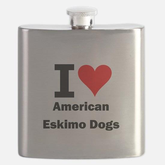 I Love American Eskimo Dogs Flask