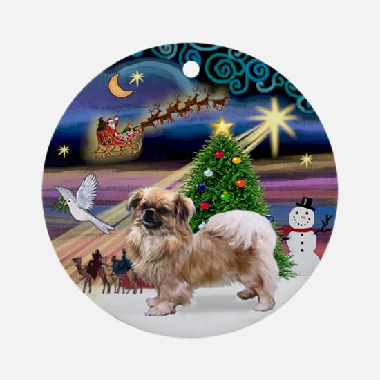 Xmas Magic & Tibetan Spaniel Ornament (Round)