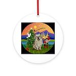 Xmas Fantasy & Tibetan Spaniel Ornament (Round)