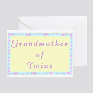 """Baby Twins Grandmother"" Greeting Cards (Pack of 6"