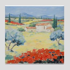 Poppy fields Tile Coaster