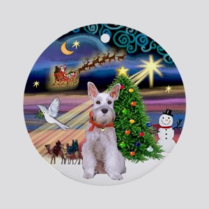 Xmas Magic & Mini Schnauzer Ornament (Round)