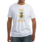 Happy Halloween Ghost Kitten Fitted T-Shirt