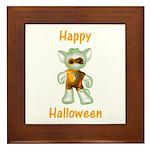 Happy Halloween Ghost Kitten Framed Tile
