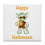 Happy Halloween Ghost Kitten Tile Coaster