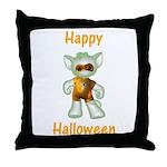 Happy Halloween Ghost Kitten Throw Pillow