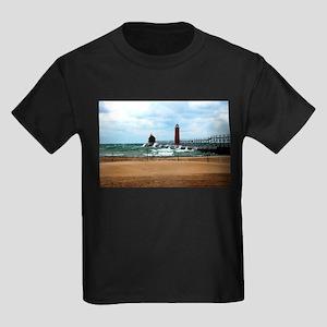 Lake Michigan Beach Kids Dark T-Shirt