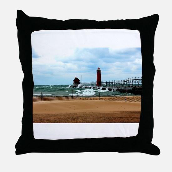 Lake Michigan Beach Throw Pillow
