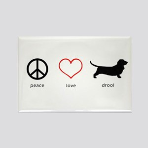 Peace, Love, Drool Rectangle Magnet