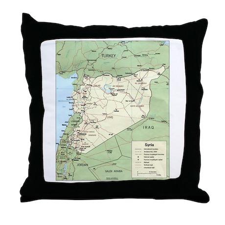 Syria Iraq Turkey Jordan map Throw Pillow