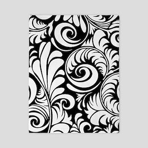 Black & White Floral Swirls Twin Duvet