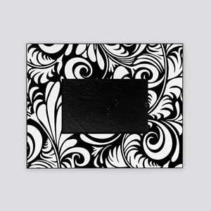Black & White Floral Swirls Picture Frame
