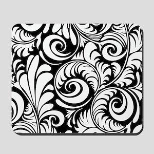 Black & White Floral Swirls Mousepad