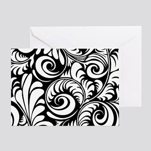 Black & White Floral Swirls Greeting Card