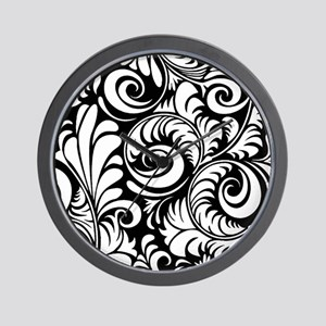 Black & White Floral Swirls Wall Clock