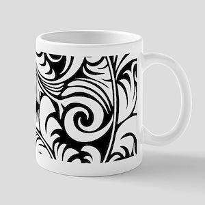 Black & White Floral Swirls Mug