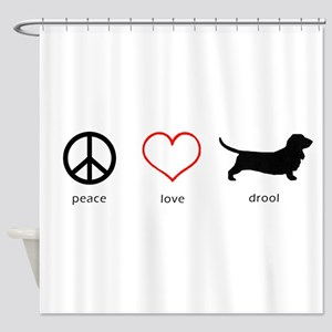 Peace, Love, Drool Shower Curtain