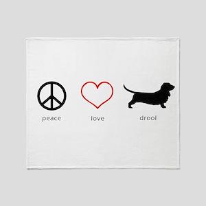 Peace, Love, Drool Throw Blanket