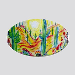 Saguaro Cactus, desert Southwest art! 20x12 Oval W