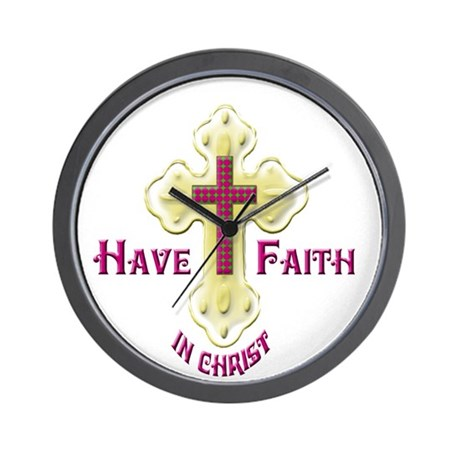 Have Faith in Christ gold cross Wall Clock