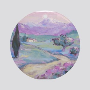Purple mountain Painting Ornament (Round)