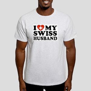 I Love My Swiss Husband Ash Grey T-Shirt