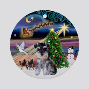 Xmas Magic & Mini Schnauzer Pup Ornament (Round)