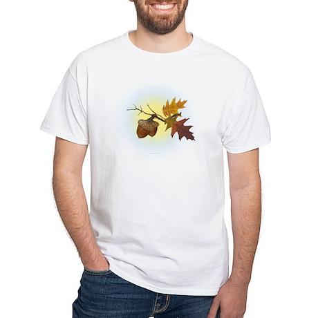 Autumn Oak & Acorn White T-Shirt
