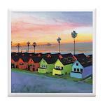 Oceanside Beach Cottages Tile Coaster