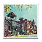 Victorian Street by Riccoboni Tile Coaster