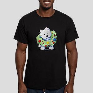 Westie Wreath Men's Fitted T-Shirt (dark)