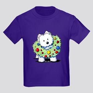 Westie Wreath Kids Dark T-Shirt