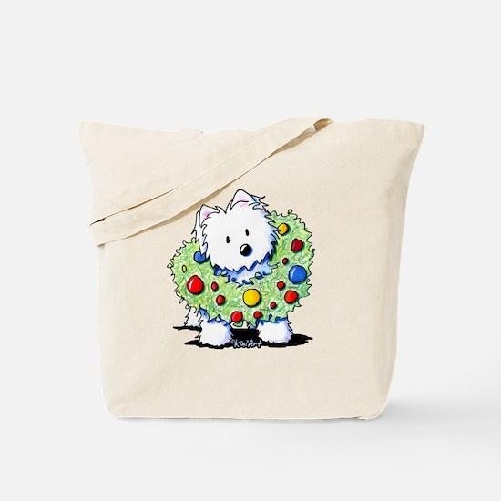 Westie Wreath Tote Bag