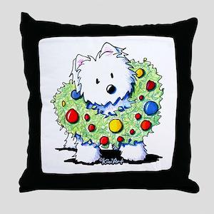 Westie Wreath Throw Pillow
