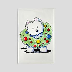 Westie Wreath Rectangle Magnet