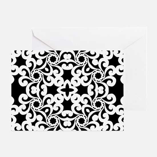 Black & White Lace Tile Greeting Card