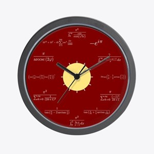 Math Wall Clock (red background)