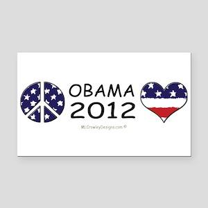 PEACE OBAMA LOVE Rectangle Car Magnet