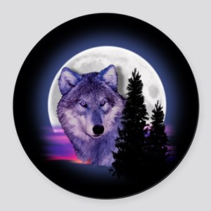 Moon Wolf Round Car Magnet