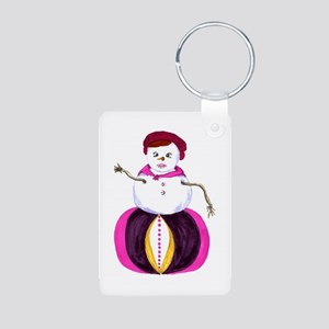 funky, hip, snow woman Aluminum Photo Keychain