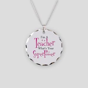 Super Teacher Necklace Circle Charm