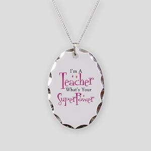 Super Teacher Necklace Oval Charm