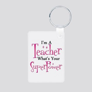 Super Teacher Aluminum Photo Keychain