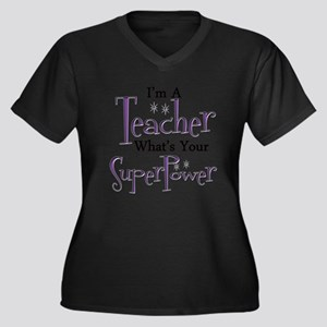 Super Teache Women's Plus Size V-Neck Dark T-Shirt
