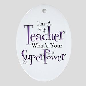 Super Teacher Oval Ornament