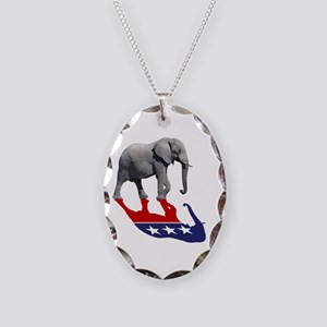 Republican Elephant Shadow Necklace Oval Charm