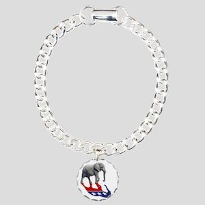 Republican Elephant Shadow Charm Bracelet, One Cha
